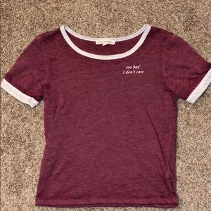 L.A. Hearts red/burgundy crop top tee